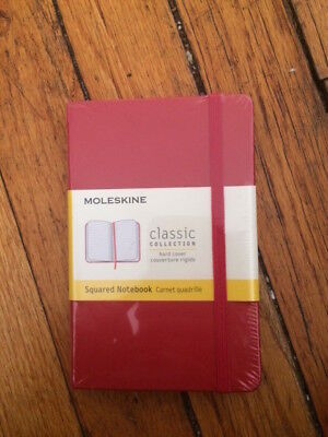 NWT Moleskine Classic Notebook Pocket Squared Plain Red Hard Cover 3.5 x 5.5