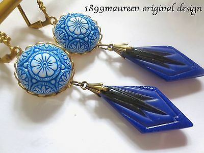 Bold Art Deco earrings Art Nouveau blue black drop 1920s vintage style long