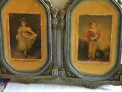 Pair of two Antique 18th-19th Century....Oil Paintings in Ornate Wooden  Frames