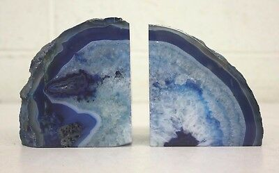 Pair Polished Blue Agate ~2 1/2 Pound Stone Bookends Satisfaction Guaranteed