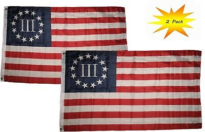 3x5 3'x5' Wholesale Set (2 Pack) Betsy Ross Nyberg 3% III Threeper Flag Banner
