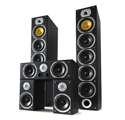 Home Cinema Speaker System Surround Sound Set Subwoofer 5 Channel Audio 1240W