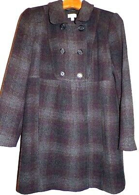 Women's M Maternity A Pea in the Pod Wool Blend Coat Empire Waist Gray Burgundy