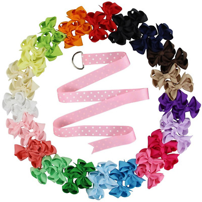"QtGirl 2.5""-4"" Small Hair Bow Clips with Bow Hanger for Girls Baby"