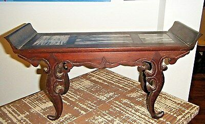 Vintage Chinese Buddhist Miniature Altar Table Stand Red Rosewood And Marble