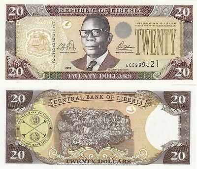Liberia 20 Dollars (2003) - Samuel Doe/Palm Nuts/p28a UNC