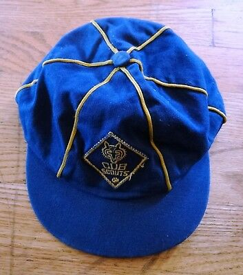 Vintage Cub Scouts Cap / Hat Official Navy Gold Embroidered Uniform Wolf Cub BSA