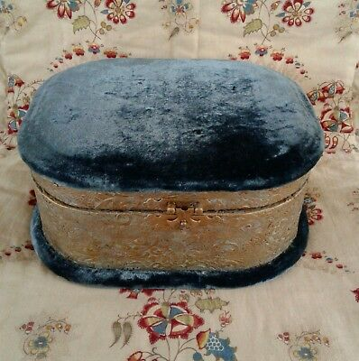 Antique French 19thC Velvet Silk Jewelry Trinket Collar Sewing Box Beveled Glass