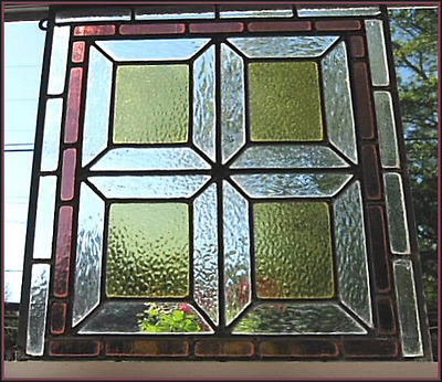 Antique Stained Glass Window Arts & Crafts Period 1910s 56 Pieces Textured Glass