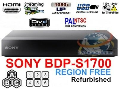 SONY BDP-S1700 Refurbished REGION FREE BLU-RAY DVD PLAYER ZONE A B C DVD 0-8 USB