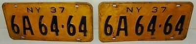 1937 New York License Plate Matched Pair