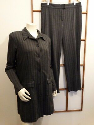 New York & Company Women's XLarge Pant Suit Grey Herringbone Long Jacket Stretch