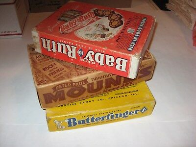 Vintage Butterfinger, Baby Ruth, and Mounds Candy Bar Advertizing Display Boxes