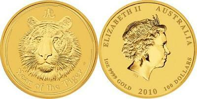 Australia 2010 $ 100 Lunar Series II - Year of the Tiger 1 Oz Gold Proof Coin