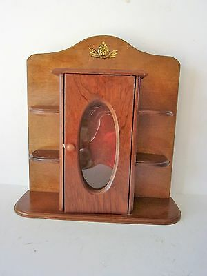 Vintage Wood Wall Cabinet With Shelves And Door For Miniatures