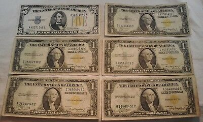 Lot of (6) 1934 1935 A North Africa Silver Certificates $5 $1 World War II Notes