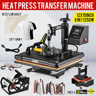 5 in1 12x15 T-shirt Combo Digital Heat Press Machine Transfer Hat Mug Plate Cap