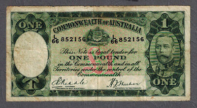 Commonwealth of Australia 1933 KGV Riddle/Sheehan One Pound Banknote R28