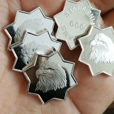 Lot of 5 x 5 g Eagle Octagon .999 Fine Silver Bar Round Bullion /  1 YXA002 OZ