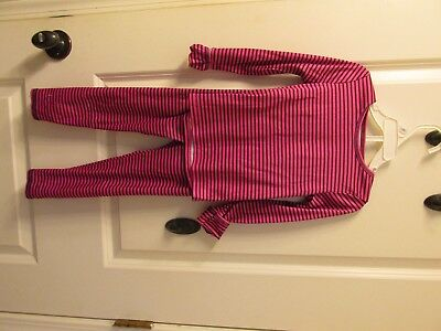 Girls Size 4T Cuddle Duds Pjs Pink with Black Stripes 2 pc