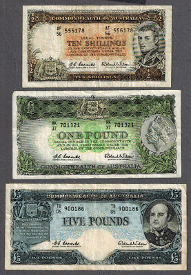 3x Australia 1960-61 RBA QEII Coombs/Wilson Ten Shillings-Five Pounds Banknotes