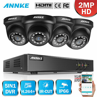 ANNKE 8CH/ 4CH 1080P Lite DVR 720P TVI Security Camera System 1/4 Splitter Cable