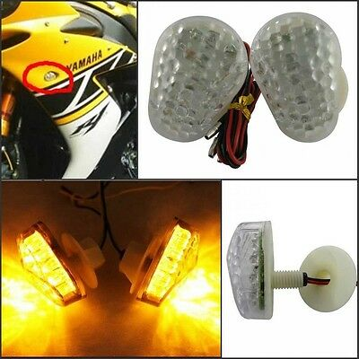 1 Pair Universal Amber LED Motorcycle Flush Mount Turn Signal Light Blinker Lamp
