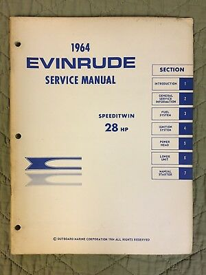 1964 Evinrude Service Manual Speeditwin 28 Hp Outboard Repair Free Shipping