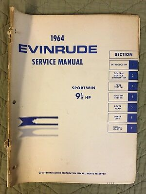 1964 Evinrude Service Manual Sportwin 9 1/2 Hp Outboard Repair Free Shipping