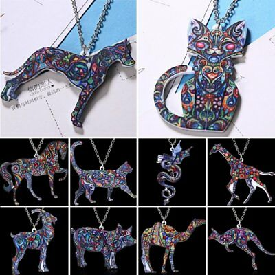 Colorful Cat Dog Animal Printing Pendant Necklace Women Jewelry Christmas Gift