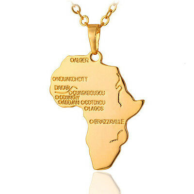 Large Gold Map of Africa Pendant Necklace Chain Hip Hop Necklace For Men Women
