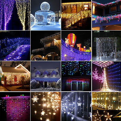 Icicle String Led Curtain Fairy Lights Christmas Wedding Party Garden Waterfall