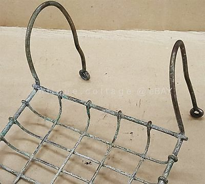 antique WIRE SOAP DISH for CLAW FOOT BATHTUB metal old primitive patina hanging