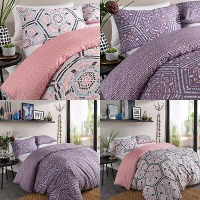 Aztec Geo Purple and Blush Quilt Cover Single Double King SuperKing Bedding Set