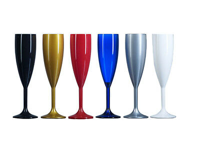 Plastic Polycarbonate Champagne Flutes - Clear, Black, Frosted, Gold, Red, White