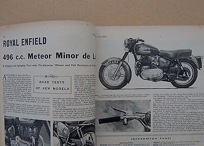 The Motorcycle June 26 1958 with Royal Enfield Meteor Minor De Luxe 3 page test