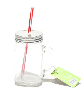 Glass Mason Jars Jams Drinking Summer Cocktail With Handle Straw 450ml x 2
