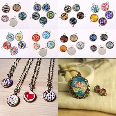 20mm Round Glass wafer Pendants Beads Antique Alloy Jewellery & Model Making