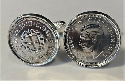 Pair Genuine Vintage High Quality Antique .500 Silver Threepence Cufflinks