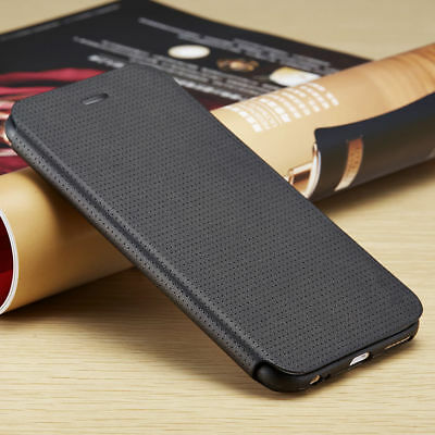 Ultra-Slim- Breathing-Wallet-PU-Leather-Case-Flip-Cover-For-iPhone X 8+ 8 7+ 7 6