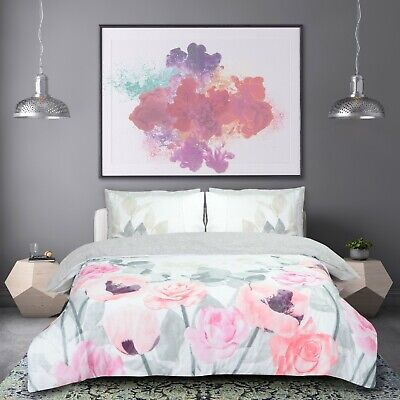 Grey Flower Duvet Cover with Pillow Case Quilt Cover Bedding Set ALL SIZE