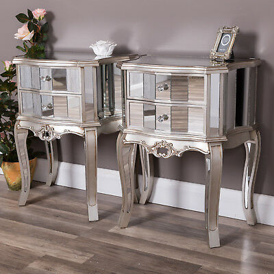 Pair of Silver Mirrored Bedside Table Glass Cabinet Ornate Venetian Furniture