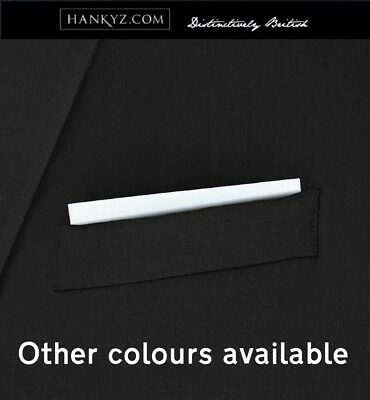 Hankyz Kensington - Fixed Men's Hanky Pocket Square Plain White