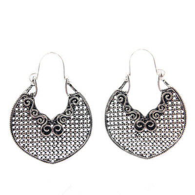1 Pair Vintage Womens Tibetan Silver Hoop Earrings Ethnic Dangle Earrings