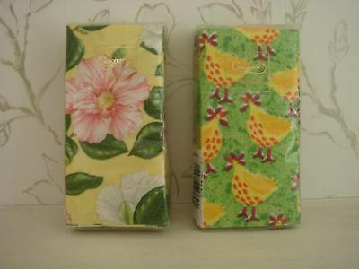 2 New Packages Caspari 4-Ply Paper Handkerchiefs Tissues Chickens Floral Pattern