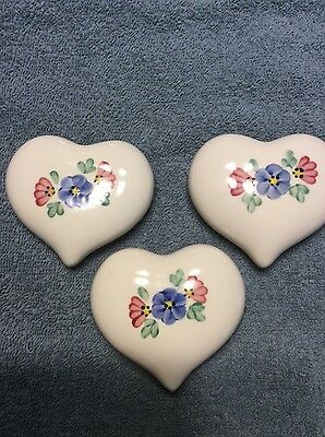 Lot of 3 Home Interior Ceramic Decorative Floral Hearts Hand Painted Wall Art