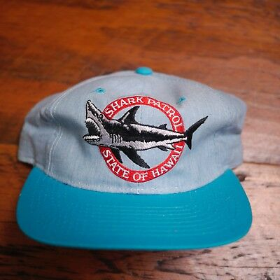 Vintage SHARK PATROL State of Hawaii Tourist Baseball Cap Hat Snapback Adjust