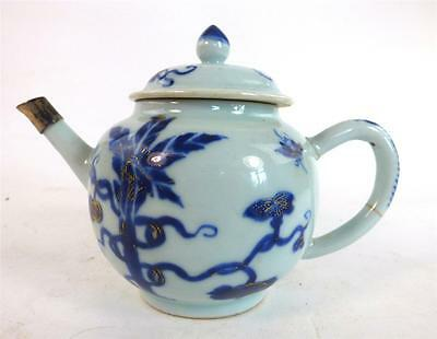 Antique Chinese Qianlong Porcelain Teapot & Cover Blue Underglaze