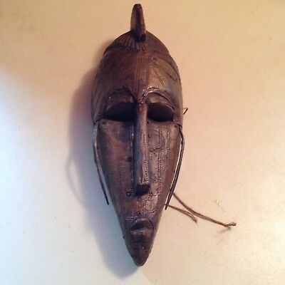 19th Early 20th Century African Warka Wood & Copper Mask