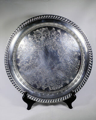 "Wm A Rogers Silver Plated 12.5"" Round Serving Tray"